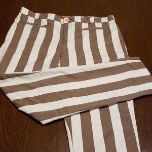 Anthro Cartonnier brown white striped pant G218:4: